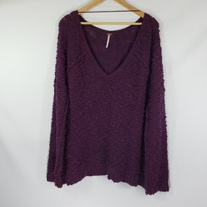Free People // Large Purple Deep V Neck Sweater